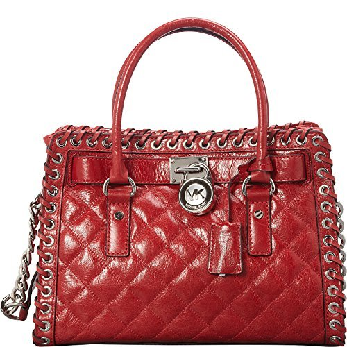 Gorgeous Michael Kors satchel in quilted leather with brilliant silver tone hardware Measures approx. 12 inch (W) x 9 inch (H) x 5 inch (D); detailed stitching Two 18 inch handles with 5 inch drop; one 30 inch shoulder leather strap with chainlink de...