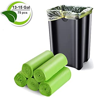Biodegradable Trash Bags, 13-15 Gallon Recyclable Trash bags Compostable Garbage Bags 1.18Mil Recycled Waste Bags Unscented Rubbish Can Liners for Kitchen Garden Home (75 Count, Green)