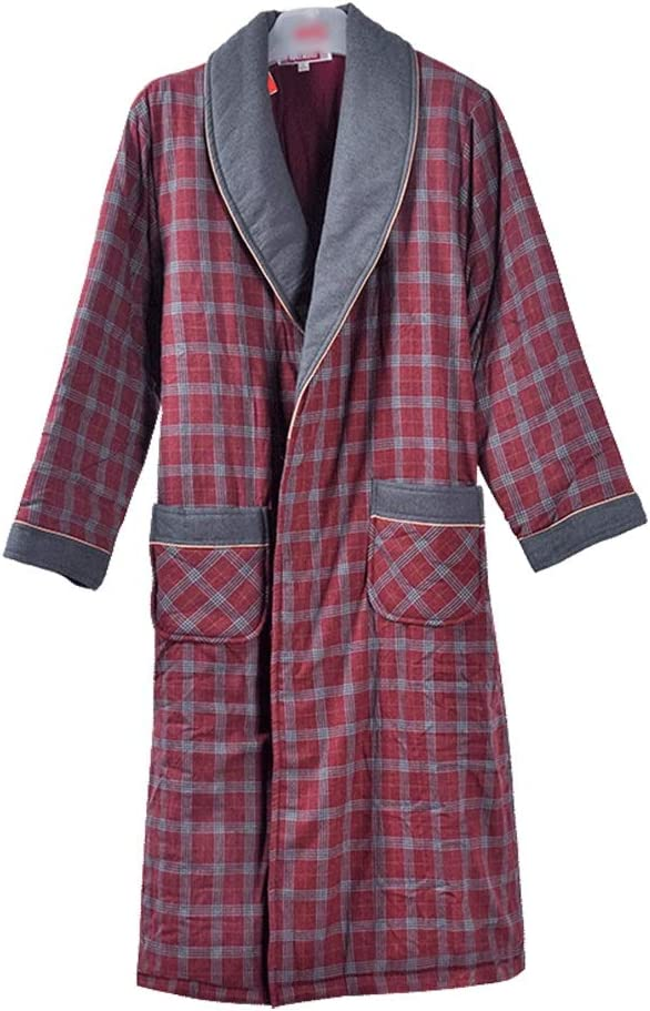 Sleep Sets Pajamas Autumn and Winter Men's Cotton Quilted Tunic Thick Warm Pajamas Plaid Long Sleeve Bathrobe Home Service (Color : Red, Size : L)