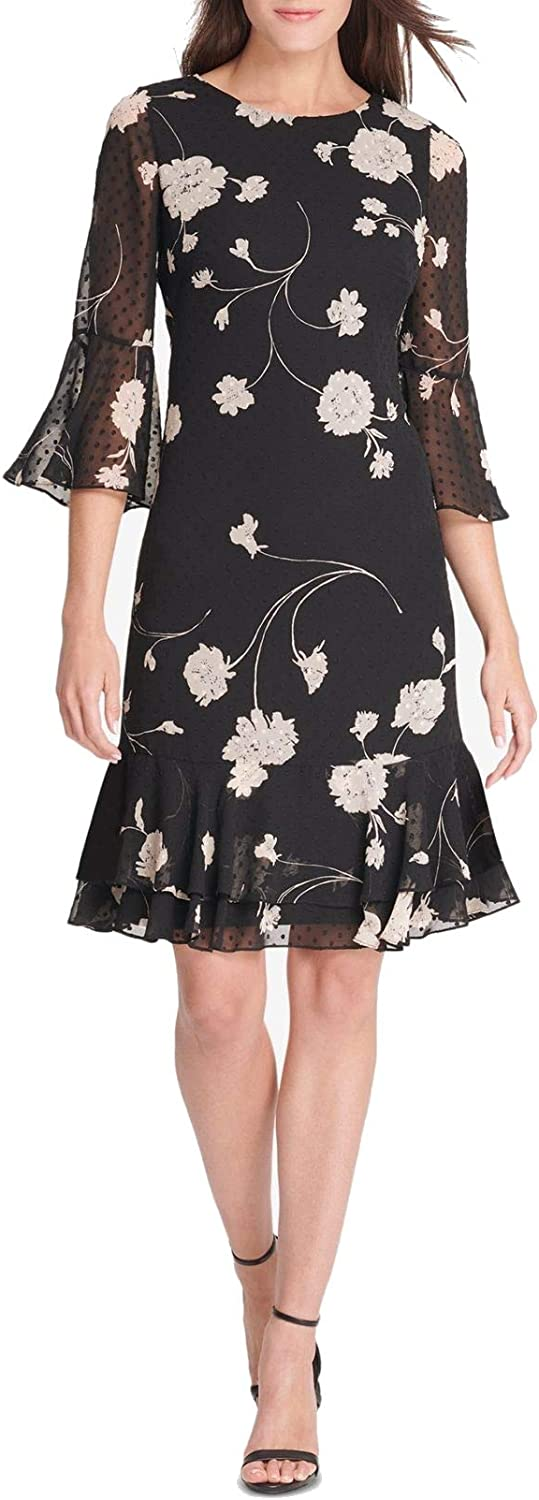 Jessica Howard Women's Floral Printed Bell-Sleeve Shift Dress
