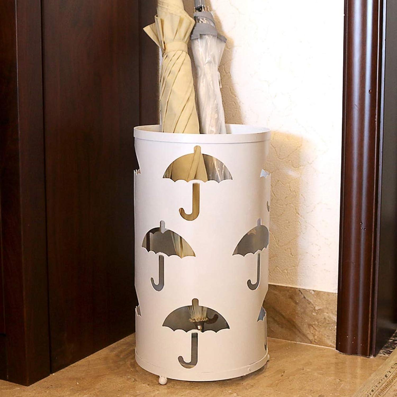 DYHOZZ Household Iron Umbrella Stand Hotel Lobby Rain Umbrella Storage Bucket Round Beige Size 41cm × 24cm Umbrella Stand (Size   A)