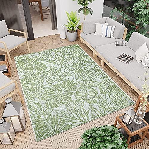 Outdoor Teppich Grün 200x290 cm - Aussenbereich Garten Balkon Wasserfest - Modernes Palmen-Design - Wetterfeste Balkonteppiche Terrassenteppiche - Indoor Wohnzimmerteppich Küchenläufer Badteppich