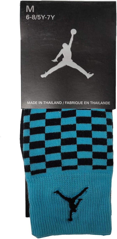 Air Jordan Checkered Crew Socks Blue/Black 576586-401 SIZE
