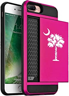 Wallet Credit Card ID Holder Shockproof Hard Case Cover for Apple iPhone Palmetto Tree South Carolina Palm Moon (Hot-Pink, for Apple iPhone 7 Plus/iPhone 8 Plus)