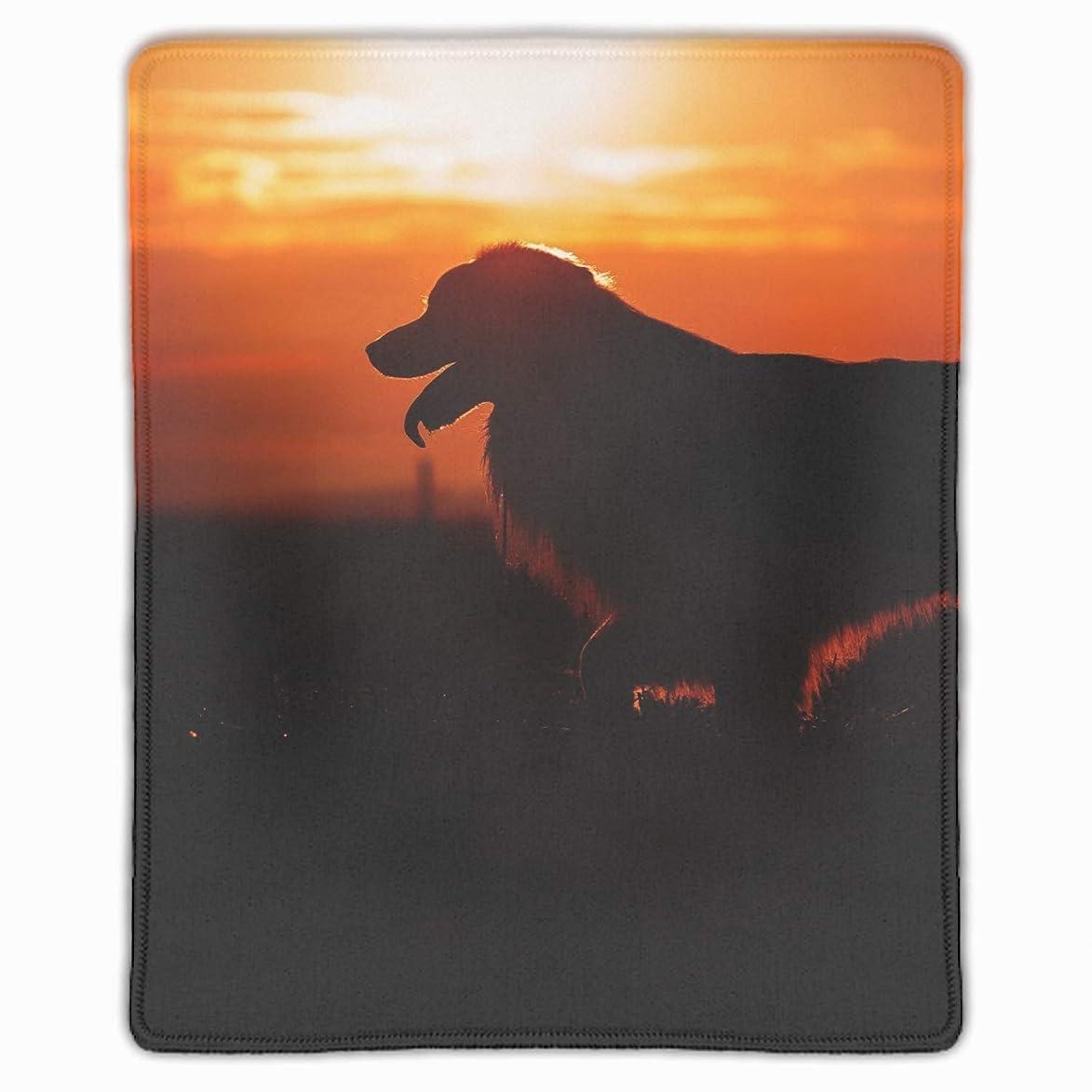 フラッシュのように素早く申込み必要としているゲーミング向け 大型マウスパッド デスクマット 防水材質 水で洗えるマウスパッド 日没の子犬
