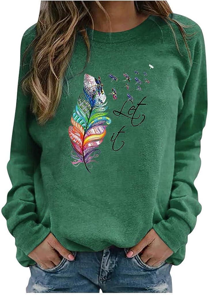 Womens Long Sleeve Tops,Womens Long Sleeve Crewneck Sweatshirts Loose Vintage Feather Printed Thermal Pullover