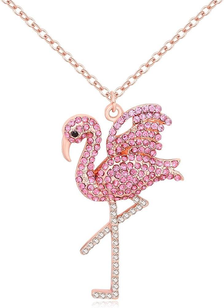 MANZHEN Delicate OFFicial shop Rhinestone Pink Rare Necklace Flamingo Pendant Bird