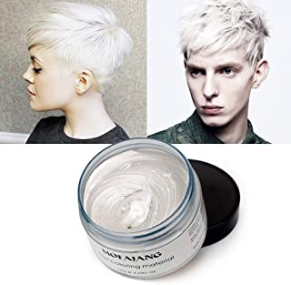 MOFAJANG White Hair Wax Pomades 4.23 oz - Disposable Natural Hair Styling Coloring Clays Ash Wax for Party, Cosplay,Halloween, Date (White)