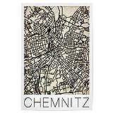 artboxONE Poster 30x20 cm Städte Retro Map of Chemnitz