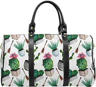 Carry on bag Travel Duffel Tote Unisex Weekender Bag Cactus Succulent and Arrow in Boho