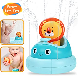 Baby Bath Toys- Water Spray Toys- Spinning Boat with Toy Lion- Bathtub Toys for Toddlers & Kids- Fun & Interactive Bath Toys for Bathtub or Pool- Sprinkler Bath Toys