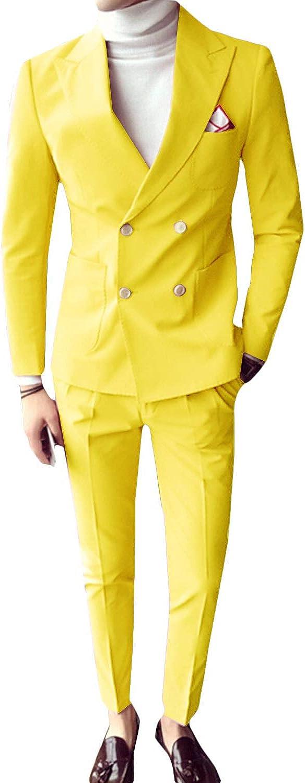 Frank Men's 2 Pieces Double Breasted Slim Fit Suit Jacket Pant Business Blazer Men