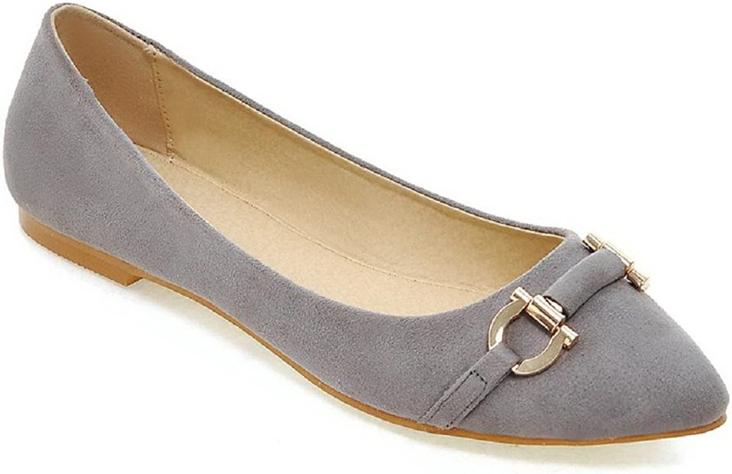 WeenFashion Women's No Heel Frosted Solid Pull On Pointed Closed Toe Flats-shoes