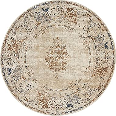 Texture Modern Carved Vintage Traditional Look & Feel Beige 4' x 4' Ephesus Collection Area Rug
