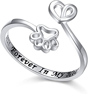 925 Sterling Silver Engraved Forever in My Heart Cat Dog Paw Adjustable Wrap Ring Gift for Women Teen Girls Pet Lovers, Size 5-10