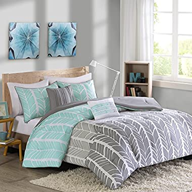 Intelligent Design Adel Comforter Set Full/Queen Size - Aqua, Light Grey, Grey, Geometric Chevron – 5 Piece Bed Sets – Ultra Soft Microfiber Teen Bedding for Girls Bedroom