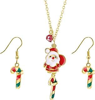 3-5 Pairs Christmas Dangle Earrings Set Christmas Tree Jingle Bell Snowflake Garland Earrings Christmas Xmas Gifts for Wom...