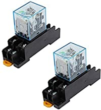 Yohii 2Pcs IEC255 DC 12V Coil 8Pin DPDT Electromagnetic Power Relay w Socket Base