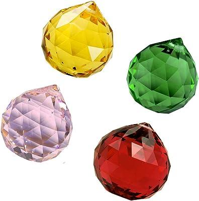 Divya Mantra Set of Four Feng Shui Crystal Rainbow Suncatcher Hanging