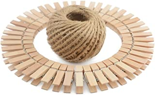 Natural Wooden Clothespins 100Pieces Mini Photo Paper Peg Pin Graft Clips 3.5CM Interior Decorating with Natural Jute Twine 100 Feet for Pictures Strings Clothes Pins Art Craft Photo Hanging Clips