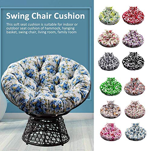 NMBC Hanging Basket Chair Cushions Round Thicken Papasan Chair Pads Garden Indoor Outdoor Swing Chair Seat Cushion For Patio Balcony -110cm Butterfly Coffee