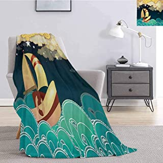 Luoiaax Ship Plush Throw Blanket for Couch Kids Fairy Tale Fantasy Illustration Magical Night Time Sailing Ship on Curly Waves Soft Warm Plush Blanket W70 x L70 Inch Multicolor