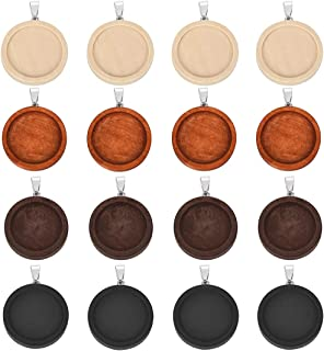 DROLE 20Pcs Wooden Pendant Trays Round Pendant Cabochon Bases Craft Bezels for DIY Jewelry Gift Making Cabochon Findings Fit 25mm Glass Dome Tiles Multicolored
