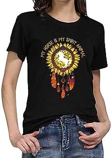 LONGDAY Women Plus Size Summer Short Sleeves Sunflower T-Shirt Tunic Girls Top Casual Print Tee Crew Neck Loose Blouse