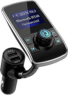 Bluetooth FM Transmitter Aigoss, Auto Wireless Radio Adapter Freisprecheinrichtung Car Charger 2 Ladegerät Kabelloses USB Ports 5V 1,0A / 2,1A 3,5mm AUX Port 1,44 inch LED Anzeige, Lesen TF K Schwarz