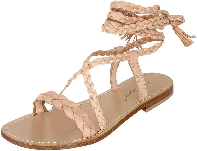 NJ Women Fashion Braid Open Toe Flats Sandals Ankle Wrap Low Heels Lace up Comfort shoes