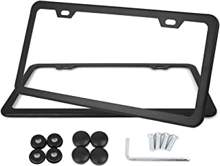 X AUTOHAUX a17081100ux0034 2 Pcs Stainless Steel Car 2 Hole License Plate Frame Cover w/Screw Caps - Black