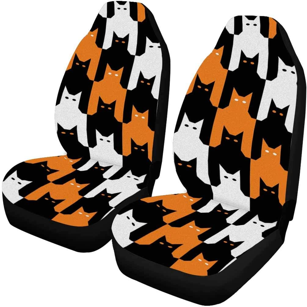 InterestPrint Cats Ranking shopping TOP2 Tooth Halloween Front pc 2 Covers Seat Vehic