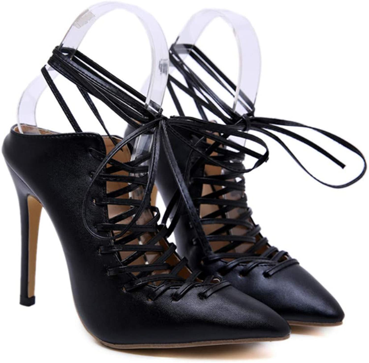 High Heels, Europe and America Simple Breathable Artificial PU Black Comfortable Lace High-Heeled Sandals