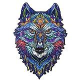 Puzzle de madera para adultos, diseño de animales, multicolor, forma única, piezas de puzzle, puzle mágico, puzzles de animales, ideal para la colección de juegos familiares, A5, A4 (A5-Wolf)