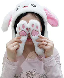 AIXINI Plush Stuffed Rabbit Hat Ear Moving Jumping Hat,Funny Bunny Luminescent Plush Hat Cap,Party Cap Gift Halloween Christmas Easter Dress Up Gift,TIK TOK