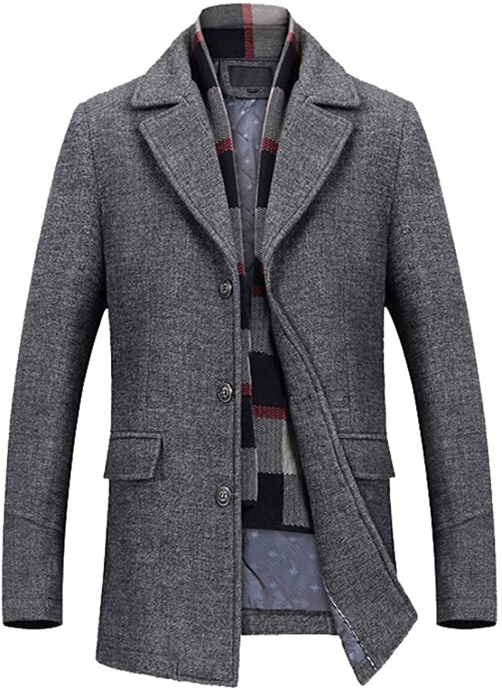 iQKA Mens Wool Blend Casual Slim Fit Winter Warm Wool Coat Business Long Jacket with Free Detachable Soft Wool Scarf
