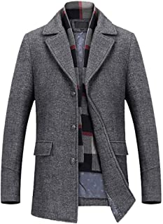 a22c257828ae TAGGMY Jackets for Men Warm Winter Thicken Casual Wool Trench Coat Fashion  Business Long Thicken Slim