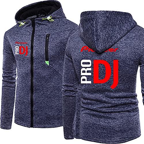 Sudadera con capucha para hombre Pioneer Pro DJ Zipper Trend, chaquetas de deporte, béisbol deportivo, Hooded Tops – Regalo para Ados,azul y XXL