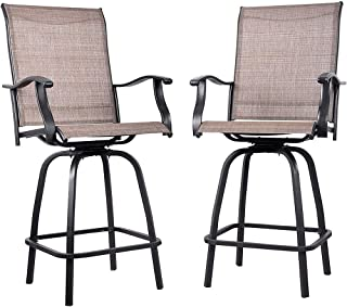 EMERIT Outdoor Swivel Bar Stools High Patio Chairs with Footrest, 2 Pack, Black (Patio Chair)