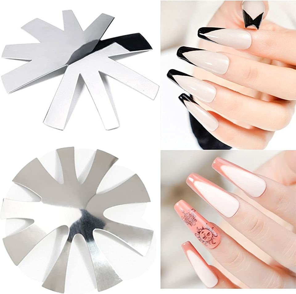 2Pcs French Line Cutter Tools,Nail Cutter Acrylic Tips Manicure Edge Trimmer Pink White Pro 9 Size V Shape Easy French Smile Cut V Line Silver (V Shape & Almond Shape)