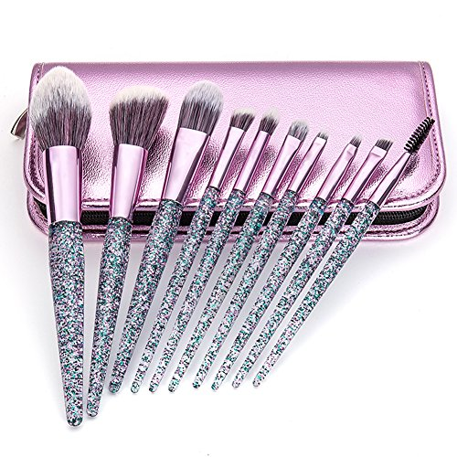 Glitter Makeup Brushes set 10 Pcs with Bag Synthetic Foundation Powder Concealers Eye Shadows