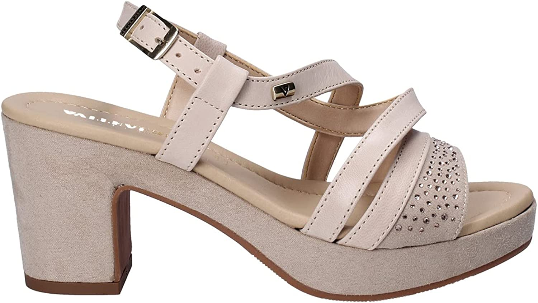 Valleverde 32501 Sandal Shoes high Finally resale start Beige Leather Woman Heel Milwaukee Mall