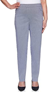 Alfred Dunner Women's Easy Street Allure Gingham Proportioned Stretch Pants - Medium Length