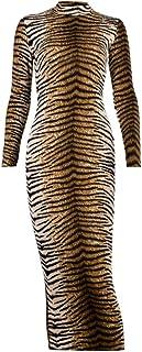 FENICAL Vestido de Manga Larga con Estampado de Leopardo Vestido de Leopardo Largo de Moda Vestido Sexy Elegante para Muje...