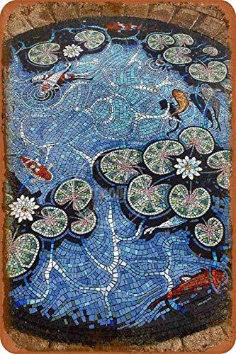 Cartel de estilo mosaico, estaño/metal, estilo rústico, para garaje, club, bar, cena, casa de campo familiar, decoración al aire libre, 8 x 12 pulgadas