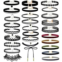 "Set of 40 PCS includes: 27 PCS Black Chokers +13PCS Colorful Chokers (Not Shown in the Pic), Perfect Jewelry Set for You. Material: Quality Velvet, Lace with Alloy Pendant Length: All of the chokers are about 12.2""in length, and each of them comes wi..."