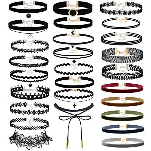 Prohouse Choker Set, 40PCS Gothic Rubber Pendant Necklace Chain Henna Chokers Necklaces Stretch Elastic for Women Girls …