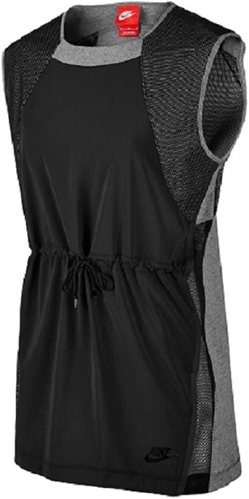 Nike Women's Bonded Sleeveless Sport Casual Top-Black/Heather Grey-Small
