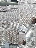 Alfionapoli mastro bianco Copriletto Trapuntato matimoniale Disegno Cuore con Piccolo Volant 5 cm Colori Beige o Grigio da Scegliere con email