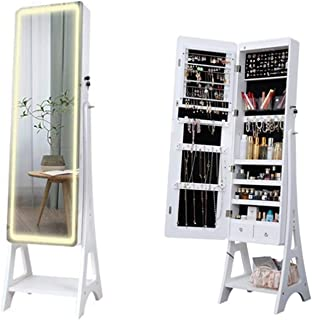 Kays Armoire à Bijoux avec Miroir Organisateur Bijoux Cabinet Miroir À Bijoux Éclairant avec des Lumières LED Et des Étagè...